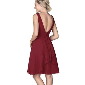 Azazie Maroon Kyla Bridesmaid Knee Length Dress